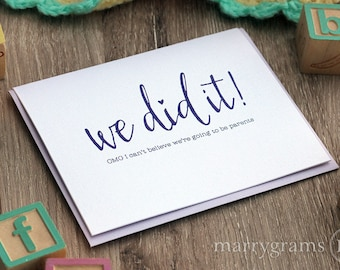 We Did It! Congratulations Card for Significant Other, Boyfriend, Husband, We're Having a Baby, Going to be Parents Greeting Card