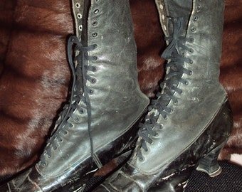 Edwardian Victorian Leather Granny Boots