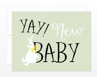 Yay New Baby Card - Sweet Baby Bunny Pistachio Green Genderless Card - Boy or Girl New Baby Card - New Parents, New Mom Card