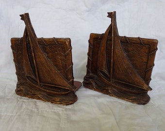 Syroco Wood Sail Boat Bookends Nautical Relief Dimensional Style 5 Inches Wide 6 Inches to Mast Top