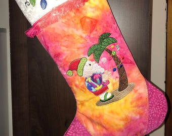 Tropical Santa Christmas -- Stocking, Christmas Stocking, cute, personalized, custom made, hand-dyed batik fabric, choice of colors