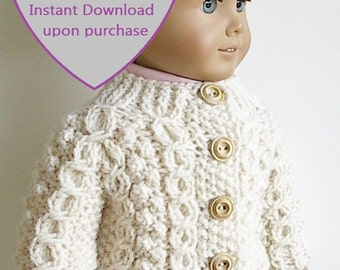 """PDF KNITTING PATTERN for 18"""" Dolls Handknit Irish Fisherman Cable Sweater Wishbone Design by Lavenderlore - Permission to Sell Finished Item"""