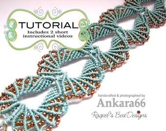 Micro Macrame Pattern with 2 short videos -English Version- Turquoise Beachy Shells Bracelet