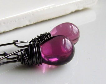 Light Plum Purple Glass Earrings, Czech Glass Hand Wrapped Earrings, Minimalist Bridesmaid Jewelry