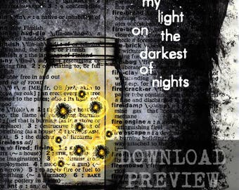 Fireflies - You are my light on the darkest of nights - Upcycled Book Art - Digital Download