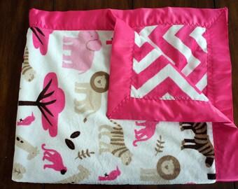 Minky Baby Blanket - Jungle Tales Pink Chevron Minky Blanket