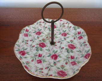 Vintage Lefton China Trinket Dish Candy Dish Ring Dish Rose Chintz Tidbit Tray with Metal Handle