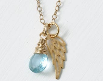 Miscarriage Necklace with March Birthstone Blue Hydroquartz / Delicate Gold Angel Wing Necklace / Pregnancy Loss Condolence Gift
