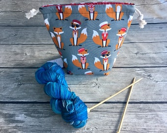 The Gentleman Fox -- Project Bag -- Drawstring Knitting Bag -- Yarn Bag -- Crochet Bag