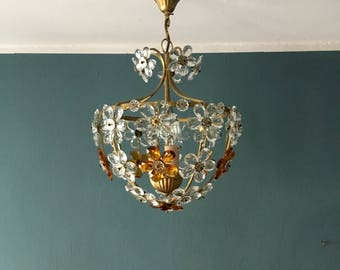 Beautiful Italian floral crystal glass and brass Christoph Palme chandelier | 1960 's ·