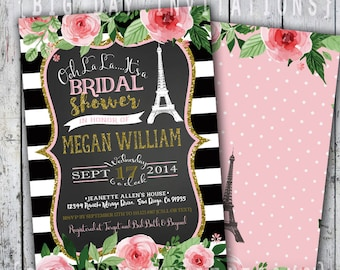 Paris Bridal Shower Invitation, Eiffel Tower Invite, Paris Shower Invitation, Printable Invitation, Chalkboard, French Shower