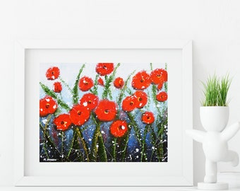 Mothers Day Gift, Flower Art Print, Red Poppy Print Wall Art, Summer Decor, Bedroom Decor