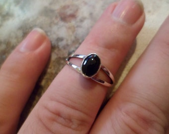 Navajo sterling silver black onyx ring Native American Southwestern, made to order