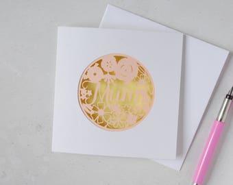 Floral Mum card – yellow Mum card – Mother's Birthday papercut card – card for Mum – card for Mother – Mum birthday card