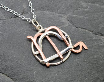 Libra Scorpio necklace sterling silver and polished copper