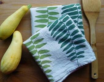 green ferns kitchen flour sack towel, fern tea towel, ferns, oregon, portland, botanical towel, original art, hand printed towel