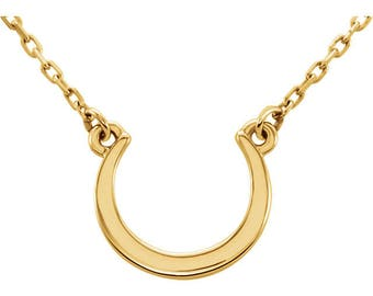 14K Yellow Crescent Necklace