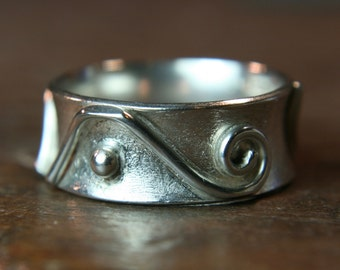 Recycled sterling silver ring. Hand made in the UK. Size K