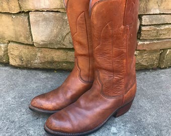Men's Vintage Lucchese Western Pull-On Ropers Vtg Brown Leather Cowboy Boots Made in USA Size 9