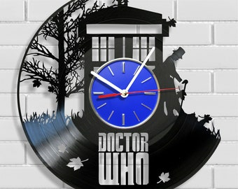 Doctor Who  wall clock made out of vintage vinyl record