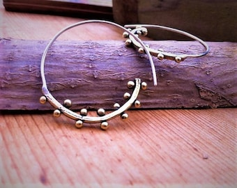 spiral brass earrings  - Rustic Earrings - Oxidized - Mixed Metal Earrings