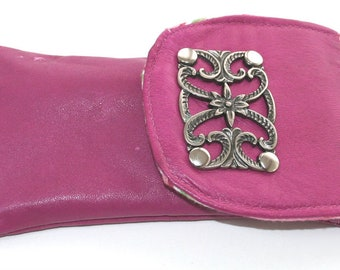 Recycled Pink Leather Eyeglass Sunglasses Case