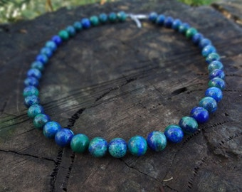 Chrysocolla Gemstone Necklace. Blue and Green Chrysocolla Beaded Necklace