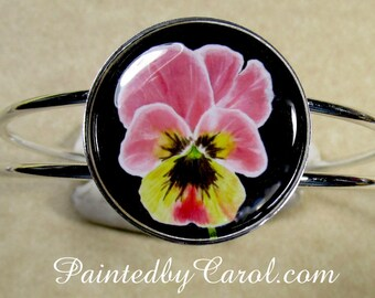 Pansy Bracelet, Pansy Jewelry, Pansy Cuff, Pansy Gifts, Pansy Lover Gifts, Pansy Bridesmaid Gifts, Pansy Wedding, Pansy Bridal