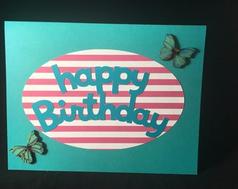 Happy Birthday Card Butterfly Blank Inside
