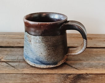Unique Wheat Blue & Brown Handmade Wheel Thrown Coffee Cup Mug Vintage Stoneware Pottery