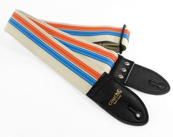 The White Orange and Blue Double Racer X Guitar Strap