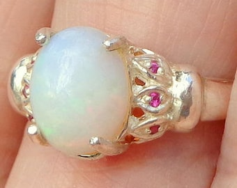 sz 7, Welo Opal Ring,Faceted Ruby Accents, Natural Gemstone, Sterling Silver, Fine Jewelry, Ethiopian Opal, Semi-Transparent Opals