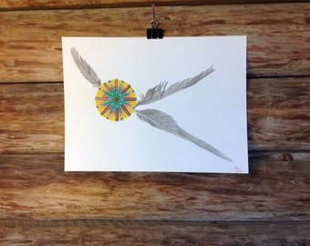 """Native American Inspired Art ,Original Watercolor Painting, Southwest Painting, Feather Painting """"Green Flash"""""""