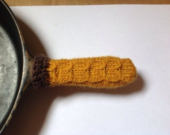 Cast Iron Skillet Handle Cover Deli Mustard with Brown Trim Wool and Cotton Knit