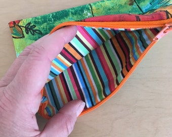 zipper pouch- makeup bag, cosmetic pouch