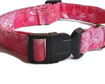 Pink Girl Dog Collar, Ready To Ship, Fabric, Medium/Large, Adjustable, Girl Dog Collar