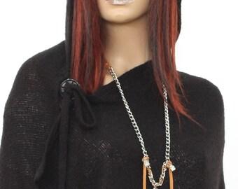 Asymmetrical Black Hooded Top  / NEW Autumn 2016 /  Black Hooded Poncho /  Extravarant Knit Top