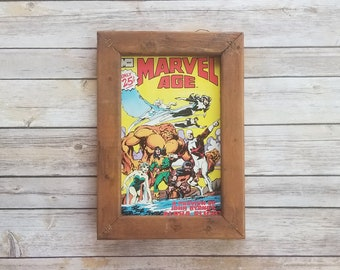 Marvel Gift For Men Marvel Age Comic Book Framed Super Hero Gift, 1980s Comic Book Gift For Dad, Rustic Nerdy Decor Comic Wedding Present
