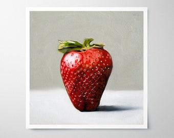 Single Strawberry - Fine Art Oil Painting Archival Giclee Print Decor by Artist Lauren Pretorius