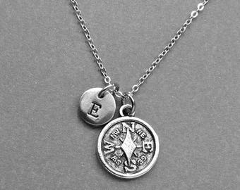 Compass Necklace, Compass Charm, Compass Jewelry, Personalized Necklace, initial jewelry, best friends necklace, initial charm, friends gift