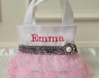 Pink Lace Flower Girl Purse, Flower Girl Gift, Birthday Gift