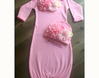 Newborn Girl Take Home Outfit, Newborn Photo Outfit, Coming Home Outfit, Baby Girl Clothes, Pink Baby Gown, Fancy Baby Clothes, Pink Layette