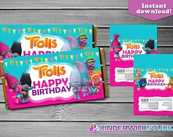 Trolls Chocolate Candy Bar Wrappers, Trolls Chocolate Bar Wrappers, Trolls Party Supply, Trolls Candy Wrappers, Trolls favor tags, Trolls