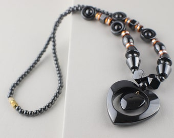 Hematite Beaded Heart Necklace Gunmetal Color with Screw Clasp