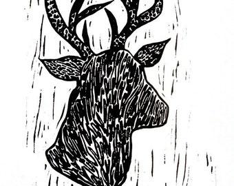 "deer linoleum block print - 11"" x 14"" wall art"