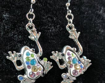 Frog earrings  with multi colored stone backs #5