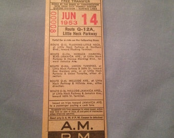 June 14 1953, Route Q-12A, LITTLE NECK Parkway, Free Transfer NYCTS Passes