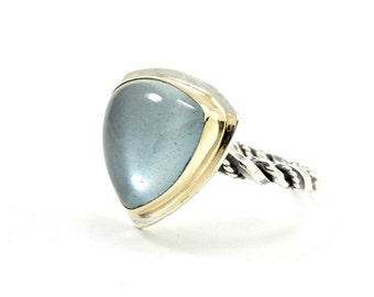 Aquamarine Ring - Size 8 - 14k Gold and Sterling Silver Ring - Triangle Stone Ring - Twisted Band Ring - Beryl Ring - Mixed Metal Ring