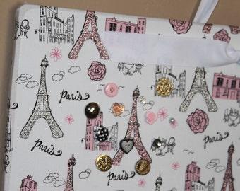 "Magnetic Board, Magnet Board, Fabric magnet board, Bulletin board, Kids artwork, Paris Decor, Eiffel tower Fabric, Girls room Decor, 18""x24"""
