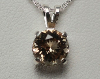Oregon Sunstone Schiller 8mm Necklace in Sterling Silver 1.25c #1262
